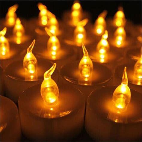 pcs yellow mini led tea lights candle  timer glow