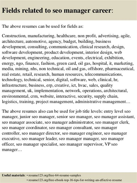 top 8 seo manager resume sles
