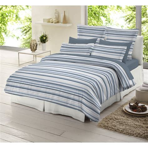 Blue And White Duvet Cover by Dormisette Blue And White Striped 100 Brushed Cotton