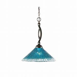 Filament design light black copper pendant with teal
