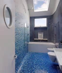 Small Blue Mosaic Bathroom Floor Tile Ideas