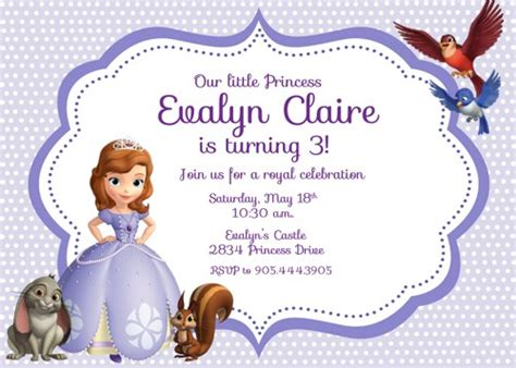 sofia the free invitation templates 8 best images of free printable princess sofia invitations sofia the birthday