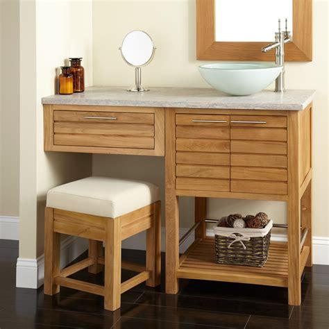 bathroom vanity with sink and makeup area 48 quot salinas teak vessel sink vanity with makeup area