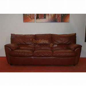 Canape contemporain cuir bordeaux 3 vraies places n102 for Canapé cuir bordeaux 3 places