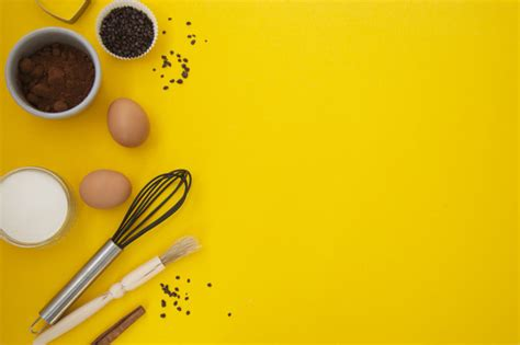 premium photo baking utensils  yellow background