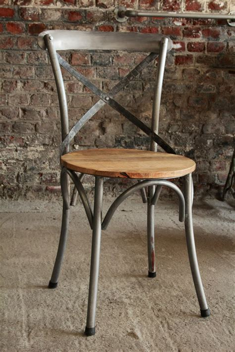chaise industrielle metal industrial furniture bistro chair in wood and metal