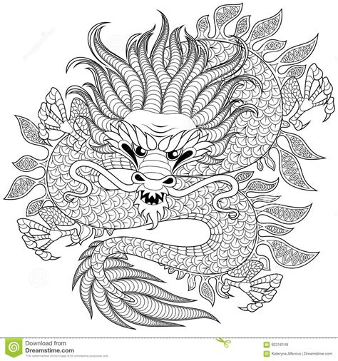 Chinese Dragon In Zentangle Style For Tatoo Adult