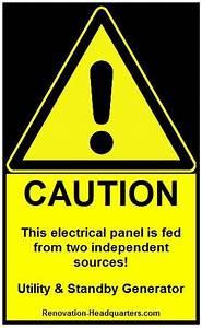 standby generator electrical panel warning label With electrical panel warning labels