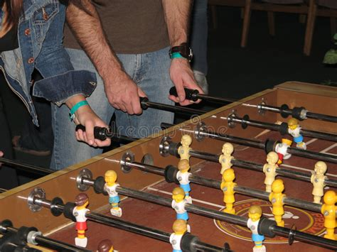 players  foosball table stock image image  soccer