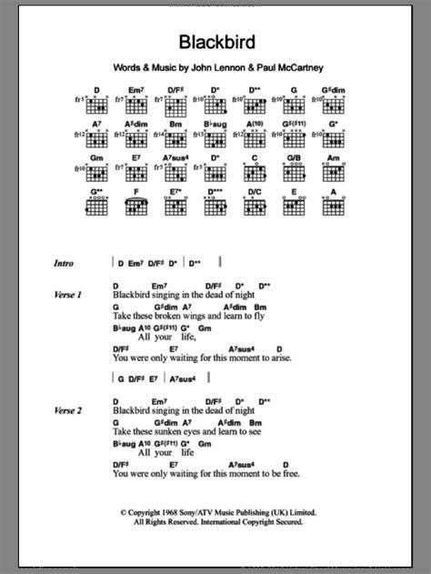 winter blackbird sheet   guitar chords