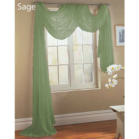 green valance green scarf sheer voile window treatment curtain