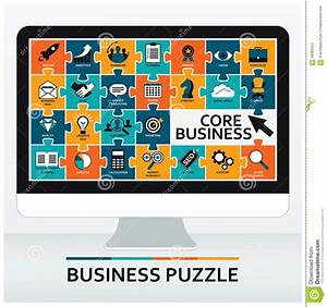 Core Business, Core Values. Set Of Business Icons. Flat ...