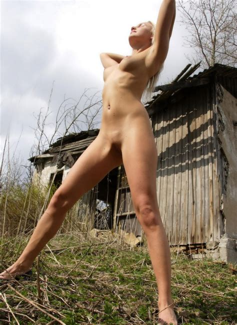 Sporty Russian Blonde Fully Naked Near Abandoned House Russian Sexy Girls