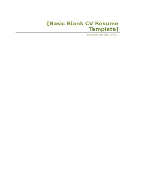 15151 blank professional resume templates basic blank cv resume template free