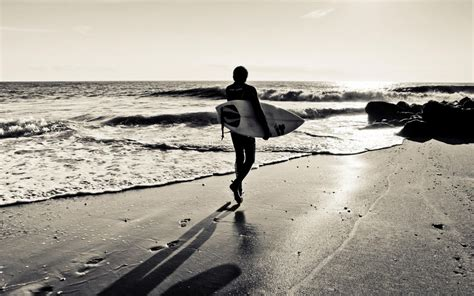 Surfing surfboard beaches ocean sea waves black white sky