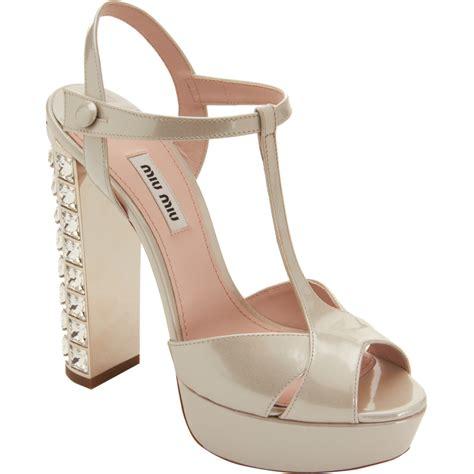 Sepatu Miu Miu 2 lyst miu miu tstrap jeweled heel sandal in metallic