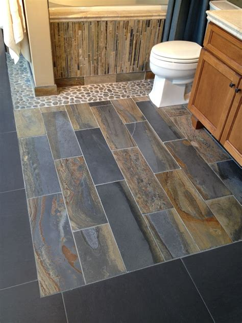 slate and wood floor slate option for foyer kitchen and breakfast room has many shades of gray charcoal mixed with