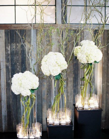 curly willow  hydrangea event floral arrangements