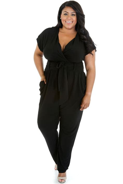 cheap plus size jumpsuits and rompers 2015 cheap fashion blue black plus size belted jumpsuit