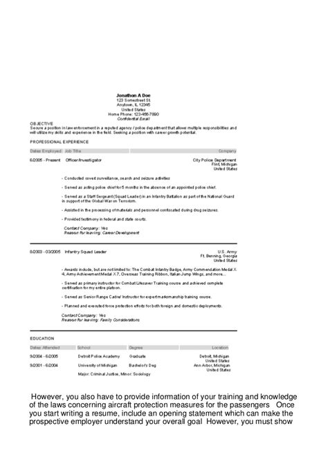 Resume Opening Statement Nursing by A Airline Resume Can Create Or Y154