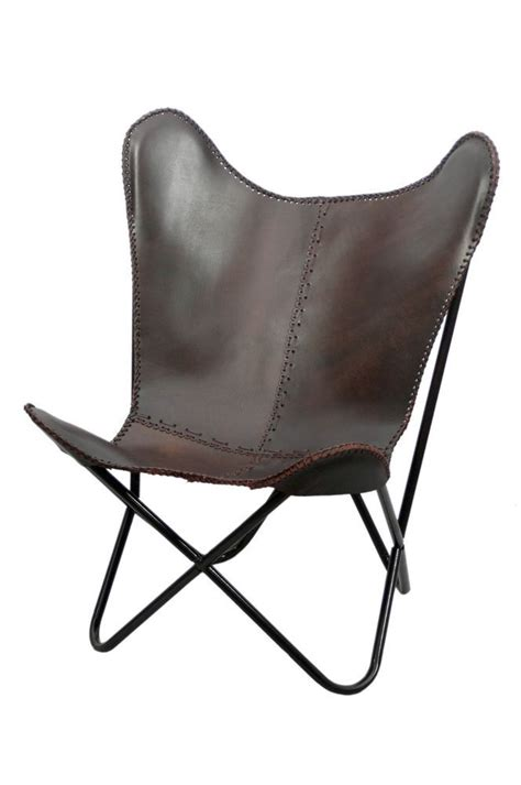 antique brown leather butterfly chair mid century modern