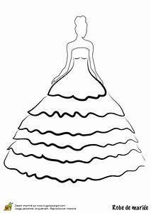 dessin coloriage robe de mariee bustier et jupon a volants With coloriage robe