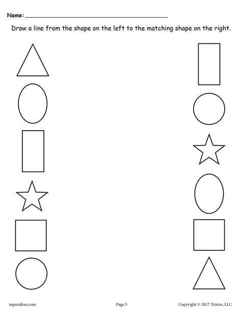 shapes matching worksheets  images
