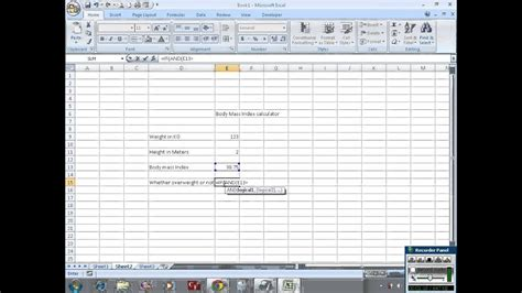 calculate body mass index bmi  excel youtube