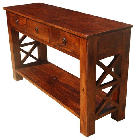 rustic wood entry table solid wood 2 tier entry console table rustic console