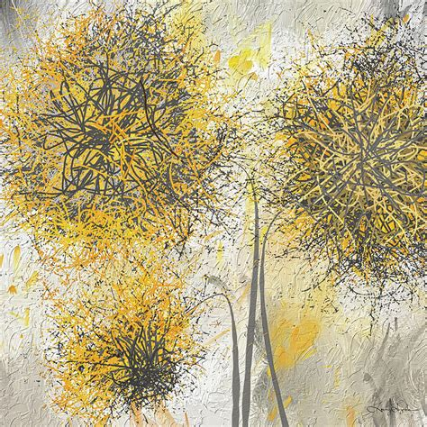 brighter blooms yellow and gray modern artwork painting by lourry legarde