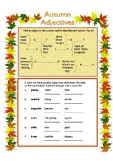 Autumn  Adjectives  Esl Worksheet By Anna P