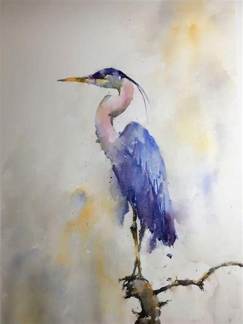 great blue heron painting watercolor art watercolor