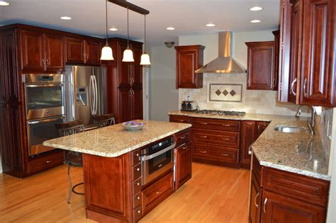mahagany maple cabinets and granite countertop