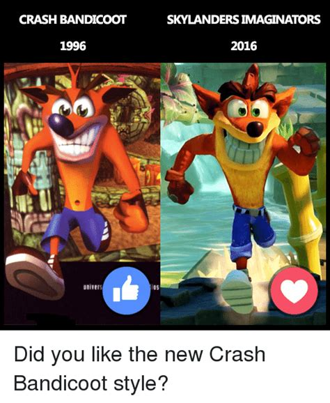 Crash Bandicoot Memes - crash bandicoot 1996 skylandersimaginators 2016 did you like the new crash bandicoot style