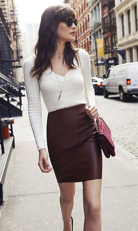 express v neck sweater leather pencil skirt autumn winter styles in 2018