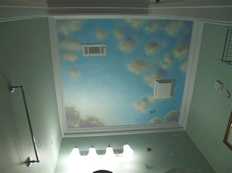 hand crafted blue sky mural  canvas  powder room
