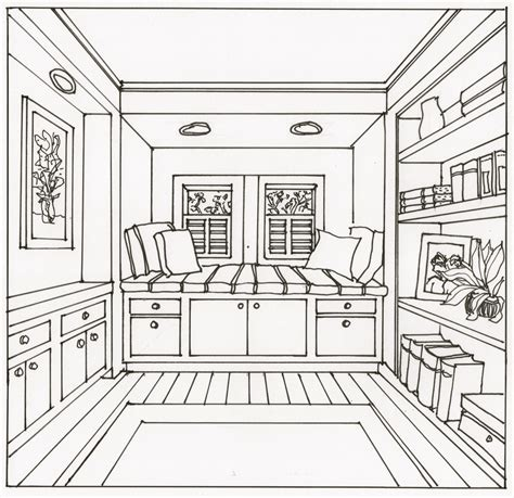 Drawing A Bedroom In One Point Perspective by This One Point Perspective Window Seat Image Was One Of
