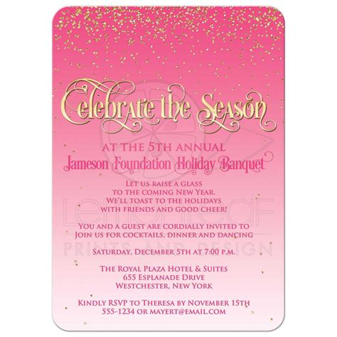 Holiday Party Invitation Celebrate the Season Pink