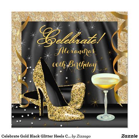 celebrate gold black glitter heels champagne party
