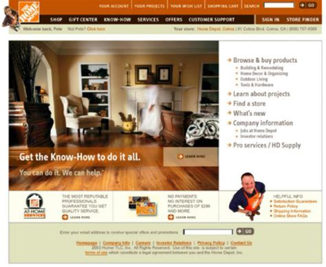 home depot  home page redesign peter howells