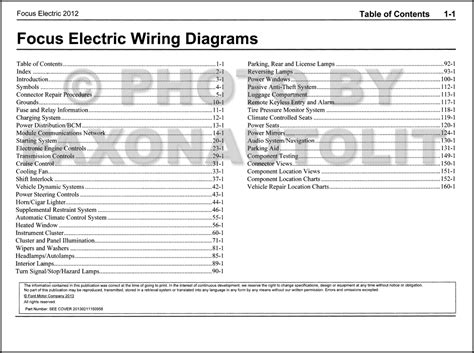 Ford Focus Electric Wiring Diagram Manual Original