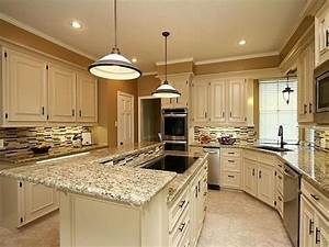 Santa cecilia granite white cabinets backsplash ideas for Best brand of paint for kitchen cabinets with wall art squares