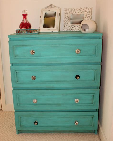 Can You Paint Ikea Furniture by Ikea Malm Dresser Painted In Autentico Bright Turquoise
