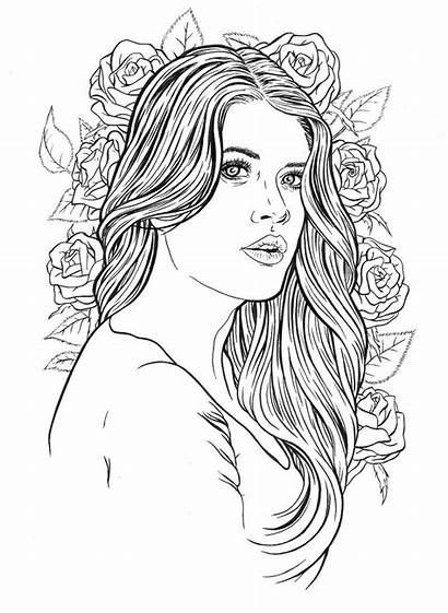Coloring Pages Adult Lady Hair Sheets Paper