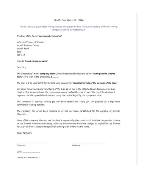 loan letter templates   sample  format
