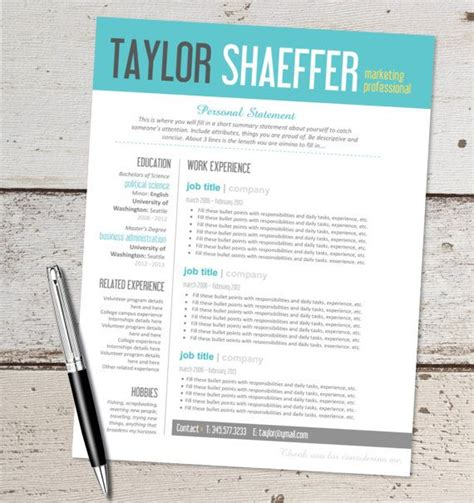 Typography Resume Template by Instant Resume Design Template Microsoft Word Editable Teal Yellow Aqua Black