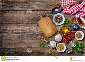 Ingredients For Cooking And Empty Cutting Board On Stock