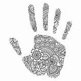 Hand Outline Coloring Mehndi Palm Flowers Vector Oriental Pattern Illustration Handdraw Vectors sketch template