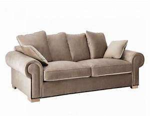 canape 240 cm taupe colonial vical home With largeur canapé 3 places