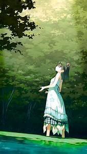 be21 anime green illustration wallpaper